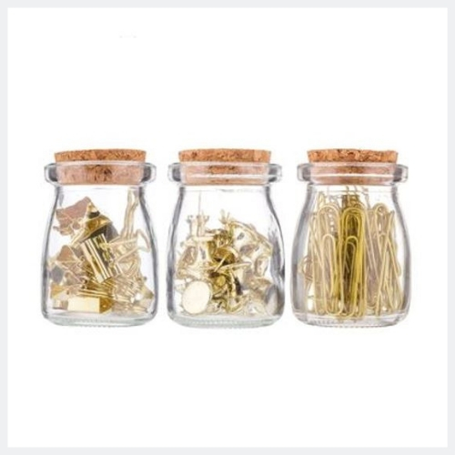 Gold Clips & Pins Jar Set