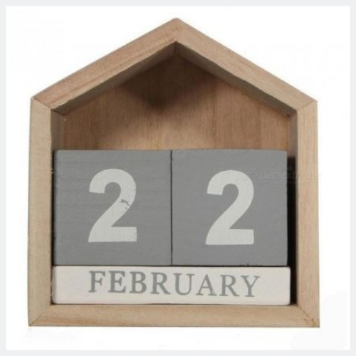 Vintage Design House Shape Perpetual Calendar Wood Desk Wooden Block Home Office Supplies Decoration Artcraft House Shape